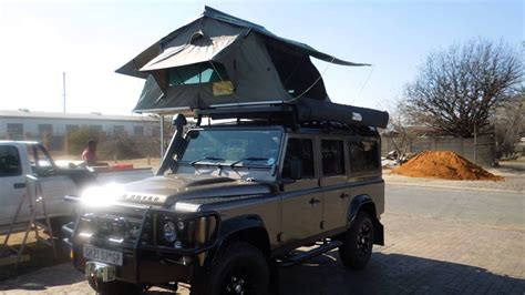 range rover tent land rover  defender fitted   eezi awn  roof top tent youtube