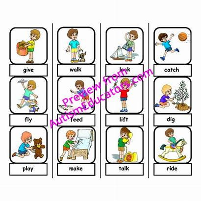 Action Word Clipart Words Autism Matching Folder