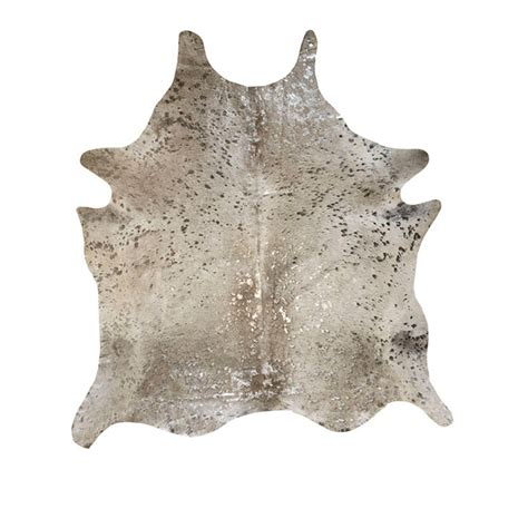 Metallic Cowhide by Southwest Rugs Devore Metallic Gris Grey With Silver
