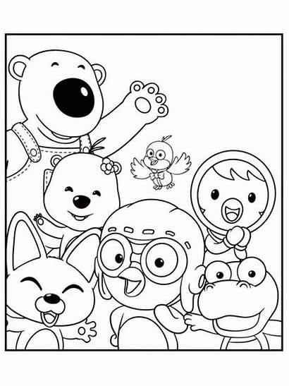 Coloring Pages Pororo Penguin Printable Cartoon Bright