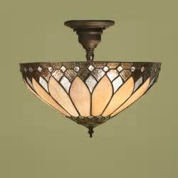 Ceiling Pendant Light Fitting by Interiors 1900 Sf01 T048sh40 Brooklyn Tiffany Semi Flush Light
