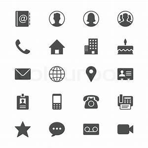 Kontakt-flach-Symbole | Vektorgrafik | Colourbox
