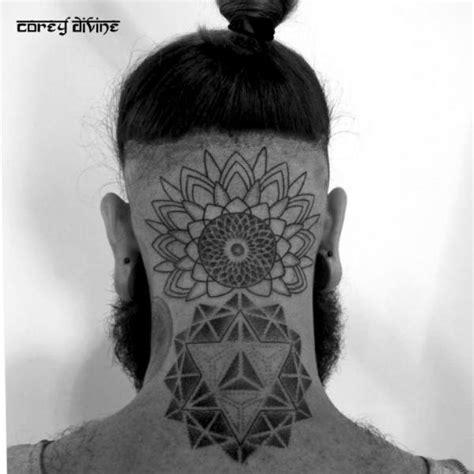 Back Of Neck Dotwork Tattoo