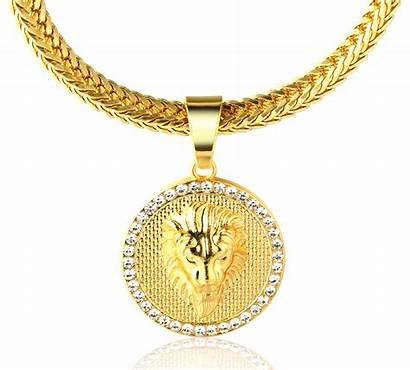Medallion Chain Lion Necklace Pendant 18k Plated