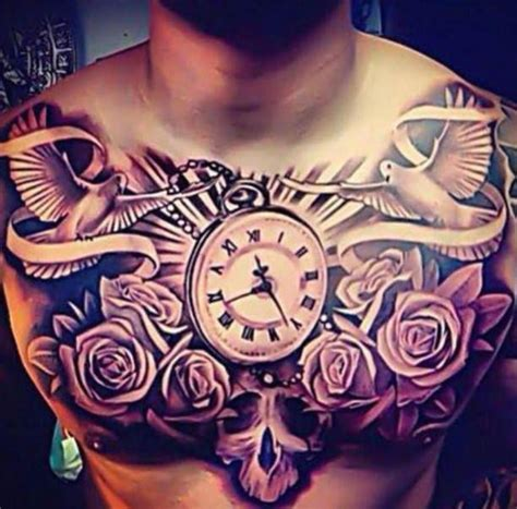 tattoo doves clock  roses chest men tattoos pinterest flower  tattoo  search