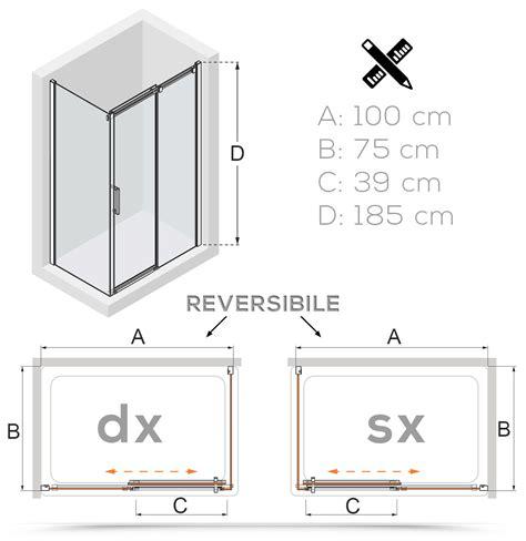 box doccia 75x100 box doccia angolare 75x100 vetro tessuto porta scorrevole