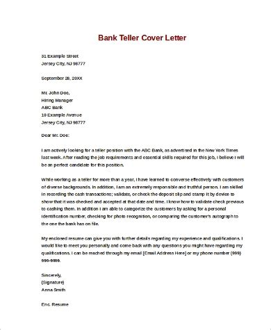 Cover Letter Sle Bank Teller by Sle Cover Letters For 9 Exles In Word Pdf