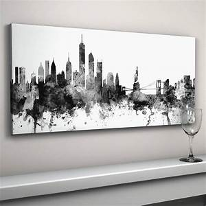 20 top new york skyline canvas black and white wall art With what kind of paint to use on kitchen cabinets for black white canvas wall art