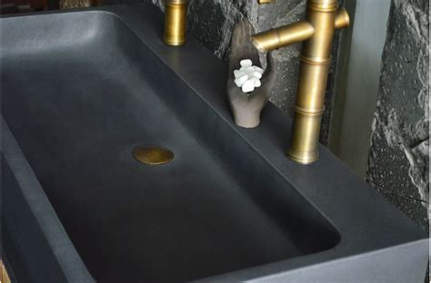 1000mm Double Sink bathroom Black Basalt Stone Basin