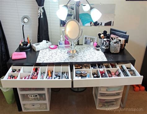 ikea micke desk drawer organizer video beauty room tour updated makeup collection