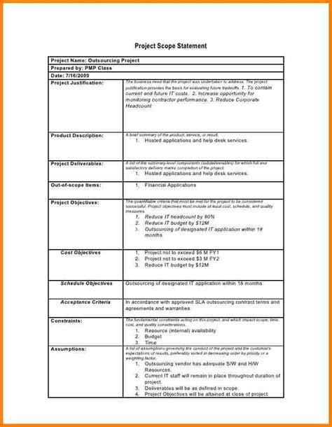 project scope statement template project scope template