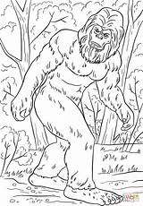 Bigfoot Coloring Pages Printable Sasquatch Monster Yeti Drawing Lengend Print Silhouette Supercoloring Tremendous Clipart Crafts Hunter Birthday Adult Pattern Books sketch template