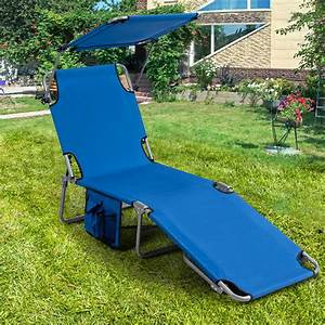 Gymax, Foldable, Lounge, Chair, Adjustable, Outdoor, Beach, Patio, Pool, Recliner, Blue, W, Sun, Shade