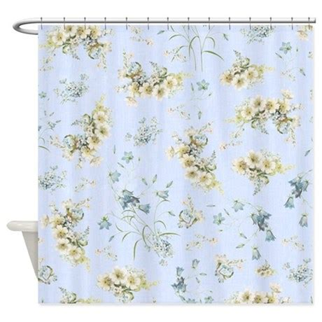 light blue shower curtain vintage light blue floral shower curtain by inspirationzstore