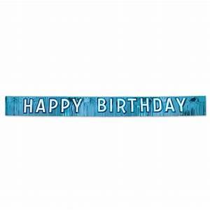 Metallic Blue Happy Birthday Banner - PartyCheap
