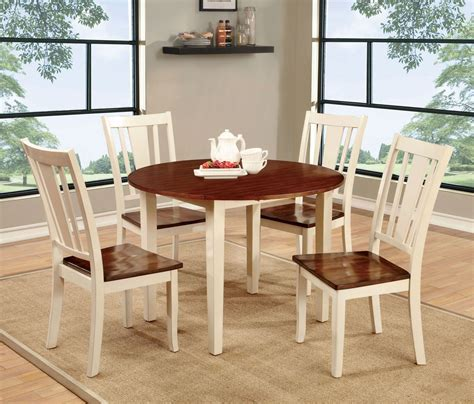 Dover II Vintage White and Cherry Drop Leaf Round Dining