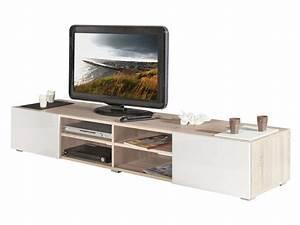 Casa Meuble Tv : meuble tv 4 niches 2 tiroirs fa ades laqu es elios coloris ch ne naturel blanc chez conforama ~ Teatrodelosmanantiales.com Idées de Décoration