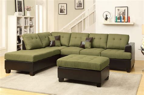 Poundex Moss F7604 Green Fabric Sectional Sofa And Ottoman