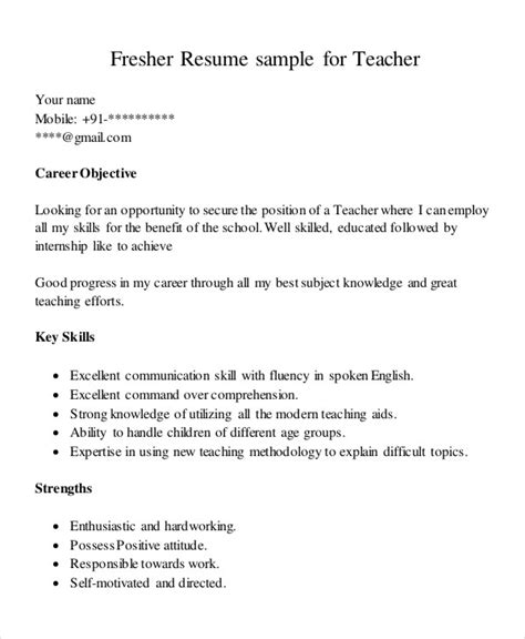 resume of schol as fresher 8 teaching fresher resume templates pdf doc free