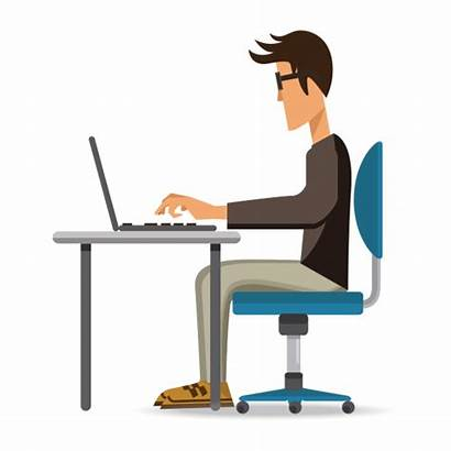 Working Laptop Person Clipart Vector Someone Transparent