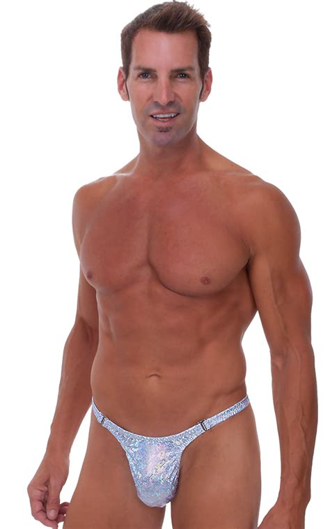 male review stripper swim thong swimsuit  holographic