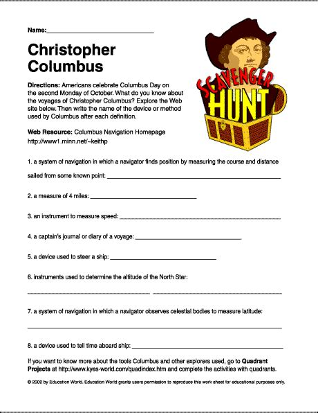 christopher columbus worksheets middle school scavenger hunt quot christopher columbus quot worksheet education world