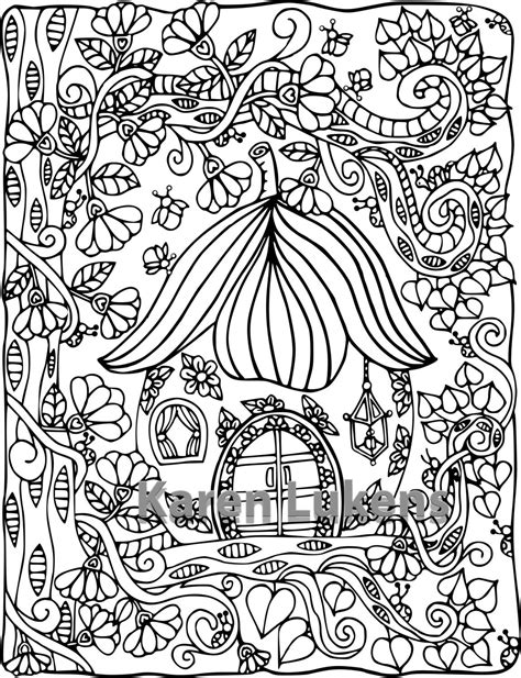 Happyville Fairy House 1 1 Adult Coloring Book Page