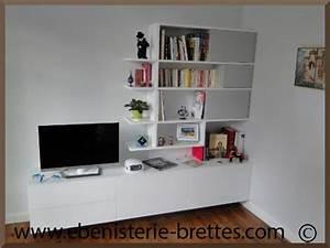 meuble de television moderne blanc avec rangements sur With meuble design sur mesure