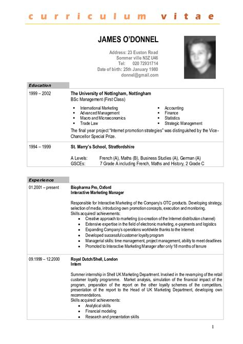 Cv Francais Simple by Curriculum Vitae Francais Exemple Simple Exemple Pour Cv