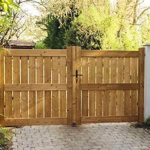 Portail Bois 4m : portail battant bois le porge naturel x cm ~ Premium-room.com Idées de Décoration
