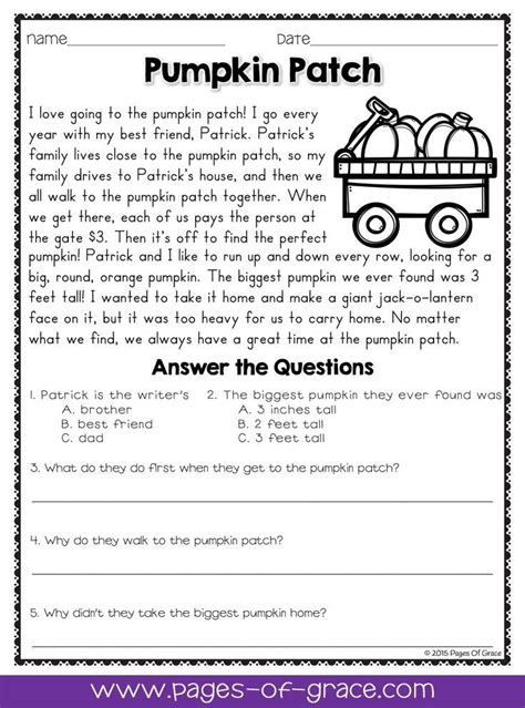 Reading Comprehension Passages And Questions For October  Pages Of Grace Resources Pinterest