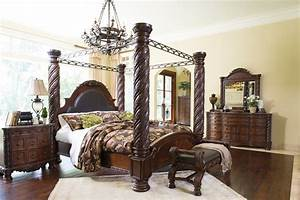 North shore 6 piece king bedroom set w canopy by ashley for Ashley furniture 5 pc bedroom sets