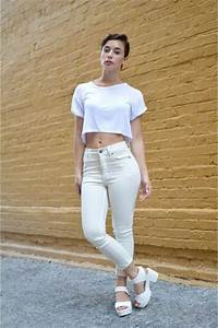 White High Waisted Cheap Monday Jeans White Crop Top ...