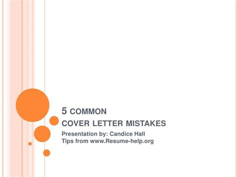 5 Common Resume Mistakes by 5 Common Cover Letter Mistakes