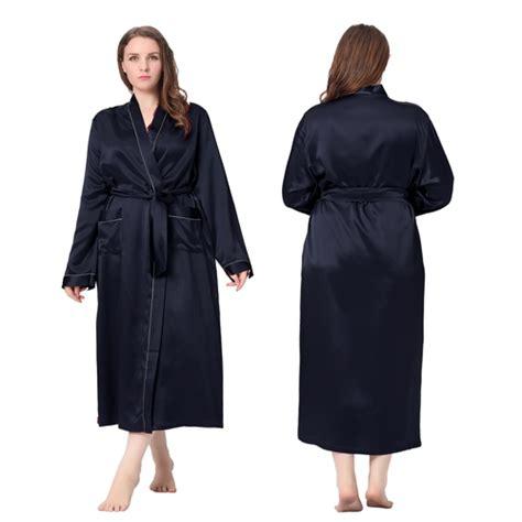 robe de chambre en soie pour femme robe de chambre femme longue soie 22 momme liseré blanc
