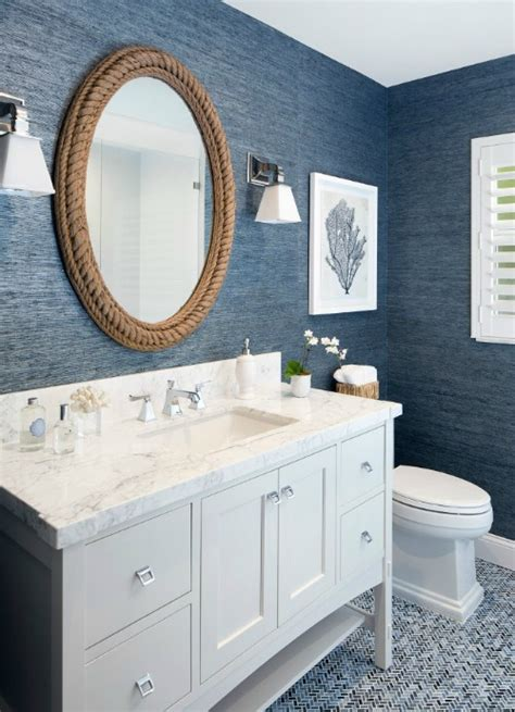 Coastal Bathroom Mirrors by Nautical Living With Navy Blue White Textures