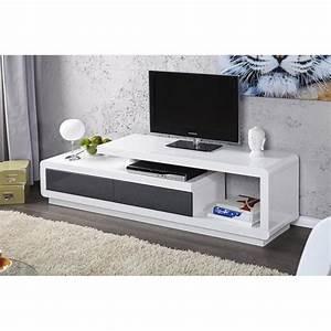 Meuble Gris Et Blanc : meuble tv gris et blanc id es de d coration int rieure french decor ~ Teatrodelosmanantiales.com Idées de Décoration