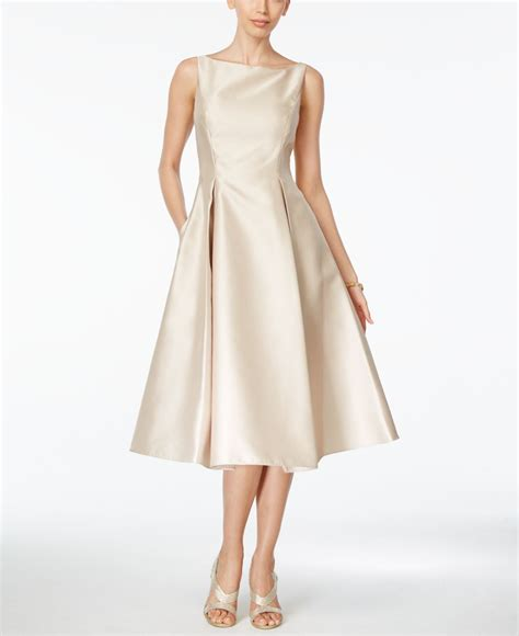 What Is A Boat Neck Dress adrianna papell boat neck a line dress in beige chagne