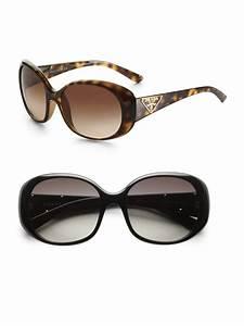 Prada Oval Logo Sunglasses in Black | Lyst