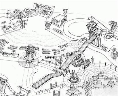 Coloring Water Slide Park Sketch Amusement Drawing