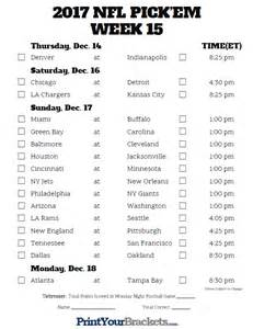 Printable NFL 2017 Week 16 Schedule