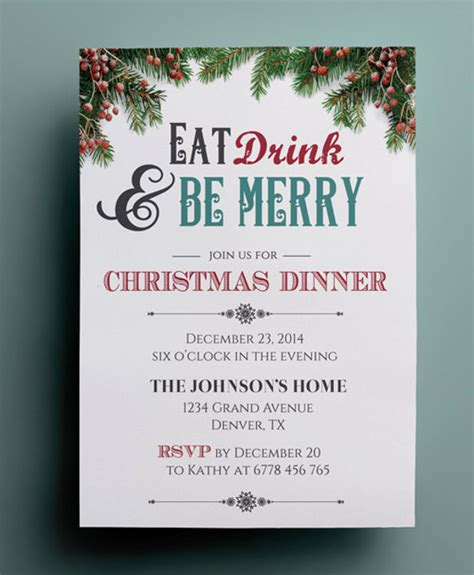 free christmas dinner invitations dinner invitation template 44 free psd vector eps ai