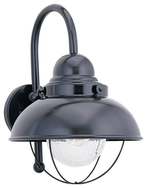 seagull outdoor sebring outdoor wall light fixture in black contemporary outdoor wall