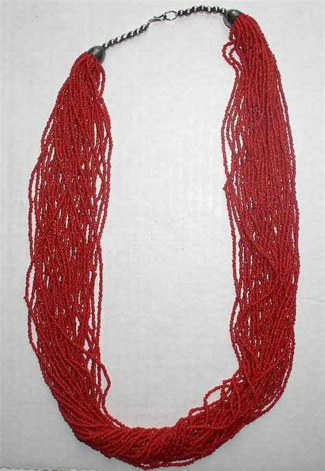 Vintage Red Coral Seed Bead Multi-30-Strand Necklace 29