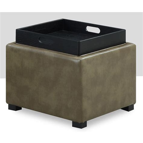 ottoman with tray top emerald home cube bonded leather storage ottoman with wood
