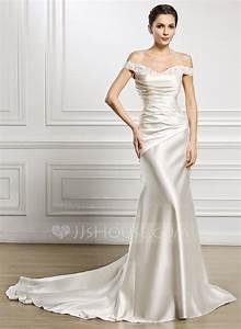 trumpet mermaid off the shoulder court train satin wedding With off the shoulder satin wedding dress