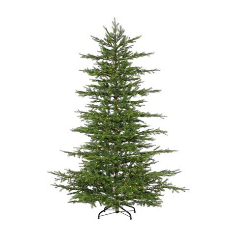 sterling nine foot flocked led trees sterling 7 5 ft pre lit led cut layered mesa pine artificial tree with micro