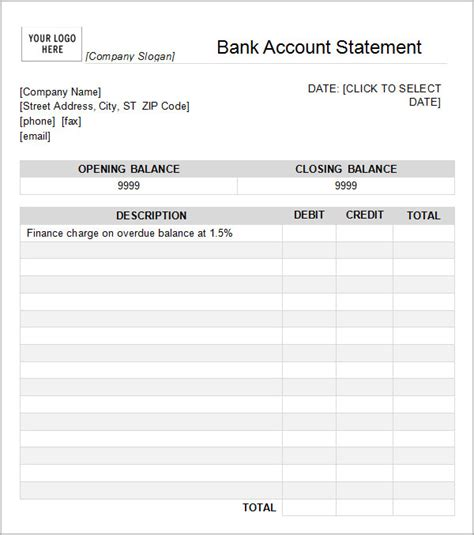 Blank Bank Statement Template 7 bank statement templates word excel pdf formats