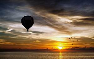 Zeppelin, Air, Balloon, Landscapes, Sunset, Sky, Clouds, Birds, Nature, Sea, Beauty, Boats