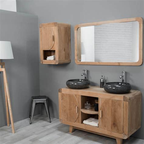 salle de bain retro photo meuble sous vasque vasque en bois teck massif r 233 tro rectangle naturel l 120 cm
